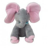 Plush Peek-a-Boo Elephant – GREY/PINK
