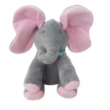 Plush Peek-a-Boo Elephant – GREY/PINK