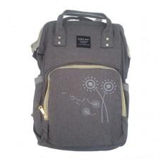 Embroidered Flower Backpack Baby Bag – GREY