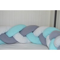 Braided Cot Bumper - 4m Multi Mint (Mint, White & Grey)