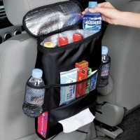 Car Back Seat Organizer With Drinks Cooler - Black