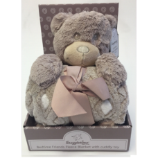 Luxurious Fleece Blanket with Cuddly Toy - Bear