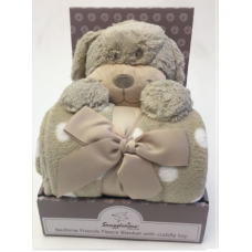 Luxurious Fleece Blanket with Cuddly Toy - Dog