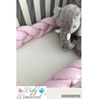 Braided Cot Bumper - 3m Soft Pink