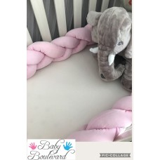 Braided Cot Bumper - 4m - Soft Pink