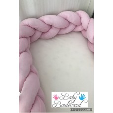 Braided Cot Bumper -  2m Soft Pink