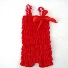 Smitten Lace Romper – RED