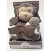 Luxurious Fleece Blanket with Cuddly Toy - Monkey