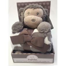 Luxurious Fleece Blanket with Cuddly Toy - Monkey