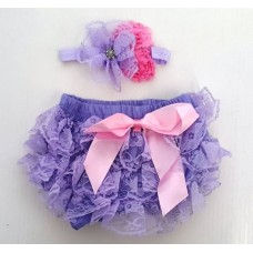 Smitten Lace Bloomer + Headband Set – Lilac