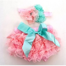 Smitten Lace Bloomer + Headband Set – BABY PINK