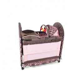 New 6 in 1 Brown/Pink - Camp Cot