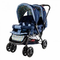 H802 Twin Tandem Stroller - Front & Back Twin - Navy