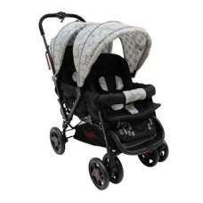H802 Twin Tandem Stroller - Front & Back Twin - Black Leaf