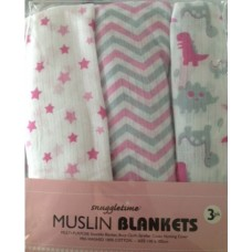 Snuggletime Muslin Blankets - Pack of 3 - Pink