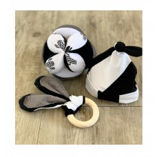 Sensory Play Ball, Bunny Ear Teether and Beanie - Black & White Set of 3