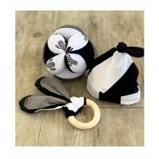 Sensory Play Ball, Bunny Ear Teether and Beanie - Black & White Set of 3