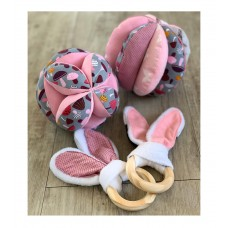Sensory Play Ball, Bunny Ear Teether & Beanie Set Pink