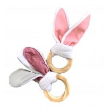 Pink Bunny Ear Teether Set