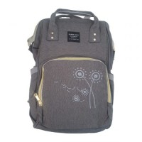 Embroidered Flower Backpack Baby Bag – GREY