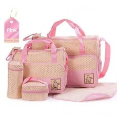 5-Piece Multifunctional Nappy Bag - Pink