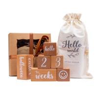 Wooden Baby Milestone Blocks (6 pcs)