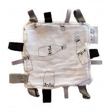 Taglet Blankie with Dummy Clip - Milky (Black & White)