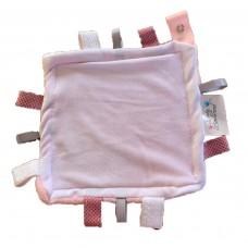 Taglet Blankie with Dummy Clip -  Pink & White Velvet