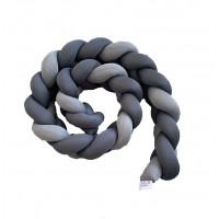 Braided Cot Bumper - Shades of Grey 3m